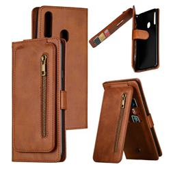 Multifunction 9 Cards Leather Zipper Wallet Phone Case for Samsung Galaxy A20s - Brown