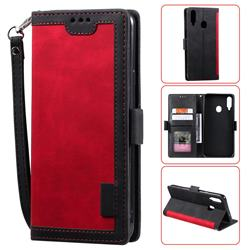 Luxury Retro Stitching Leather Wallet Phone Case for Samsung Galaxy A20s - Deep Red