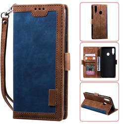 Luxury Retro Stitching Leather Wallet Phone Case for Samsung Galaxy A20s - Dark Blue