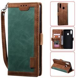 Luxury Retro Stitching Leather Wallet Phone Case for Samsung Galaxy A20s - Dark Green