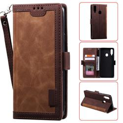 Luxury Retro Stitching Leather Wallet Phone Case for Samsung Galaxy A20s - Dark Brown