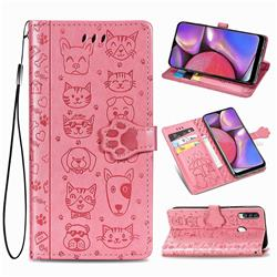 Embossing Dog Paw Kitten and Puppy Leather Wallet Case for Samsung Galaxy A20s - Pink