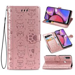 Embossing Dog Paw Kitten and Puppy Leather Wallet Case for Samsung Galaxy A20s - Rose Gold