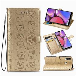 Embossing Dog Paw Kitten and Puppy Leather Wallet Case for Samsung Galaxy A20s - Champagne Gold