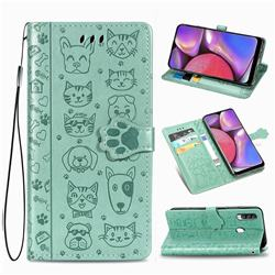 Embossing Dog Paw Kitten and Puppy Leather Wallet Case for Samsung Galaxy A20s - Green