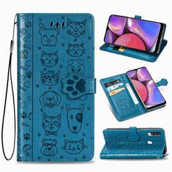 Embossing Dog Paw Kitten and Puppy Leather Wallet Case for Samsung Galaxy A20s - Blue
