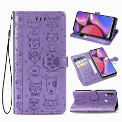 Embossing Dog Paw Kitten and Puppy Leather Wallet Case for Samsung Galaxy A20s - Purple