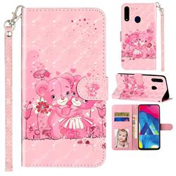 Pink Bear 3D Leather Phone Holster Wallet Case for Samsung Galaxy A20s