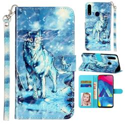 Snow Wolf 3D Leather Phone Holster Wallet Case for Samsung Galaxy A20s