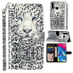 White Leopard 3D Leather Phone Holster Wallet Case for Samsung Galaxy A20s