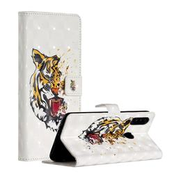 Toothed Tiger 3D Painted Leather Phone Wallet Case for Samsung Galaxy A20s