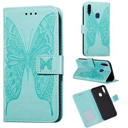 Intricate Embossing Vivid Butterfly Leather Wallet Case for Samsung Galaxy A20s - Green
