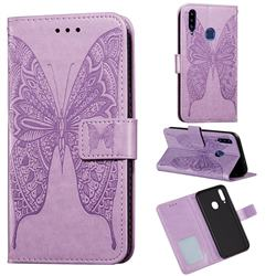 Intricate Embossing Vivid Butterfly Leather Wallet Case for Samsung Galaxy A20s - Purple
