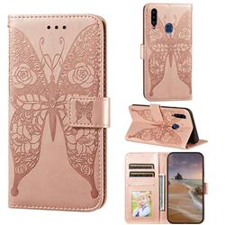 Intricate Embossing Rose Flower Butterfly Leather Wallet Case for Samsung Galaxy A20s - Rose Gold