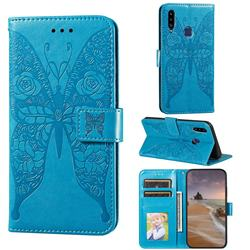 Intricate Embossing Rose Flower Butterfly Leather Wallet Case for Samsung Galaxy A20s - Blue