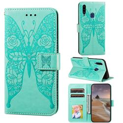 Intricate Embossing Rose Flower Butterfly Leather Wallet Case for Samsung Galaxy A20s - Green