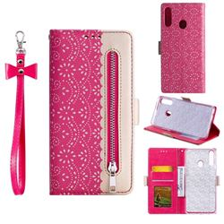 Luxury Lace Zipper Stitching Leather Phone Wallet Case for Samsung Galaxy A20s - Rose