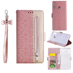 Luxury Lace Zipper Stitching Leather Phone Wallet Case for Samsung Galaxy A20s - Pink