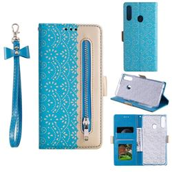 Luxury Lace Zipper Stitching Leather Phone Wallet Case for Samsung Galaxy A20s - Blue