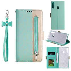 Luxury Lace Zipper Stitching Leather Phone Wallet Case for Samsung Galaxy A20s - Green