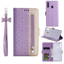 Luxury Lace Zipper Stitching Leather Phone Wallet Case for Samsung Galaxy A20s - Purple