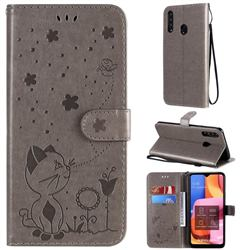 Embossing Bee and Cat Leather Wallet Case for Samsung Galaxy A20s - Gray
