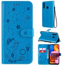 Embossing Bee and Cat Leather Wallet Case for Samsung Galaxy A20s - Blue