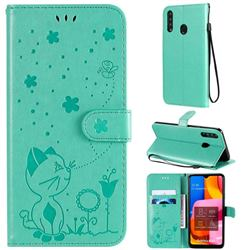 Embossing Bee and Cat Leather Wallet Case for Samsung Galaxy A20s - Green