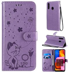 Embossing Bee and Cat Leather Wallet Case for Samsung Galaxy A20s - Purple