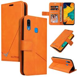GQ.UTROBE Right Angle Silver Pendant Leather Wallet Phone Case for Samsung Galaxy A20s - Orange
