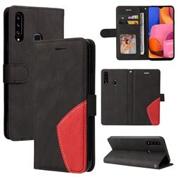 Luxury Two-color Stitching Leather Wallet Case Cover for Samsung Galaxy A20s - Black