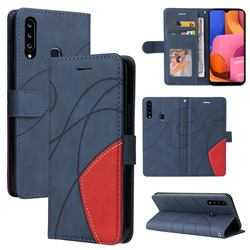 Luxury Two-color Stitching Leather Wallet Case Cover for Samsung Galaxy A20s - Blue
