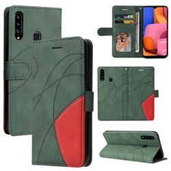 Luxury Two-color Stitching Leather Wallet Case Cover for Samsung Galaxy A20s - Green