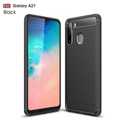 Luxury Carbon Fiber Brushed Wire Drawing Silicone TPU Back Cover for Samsung Galaxy A21 - Black