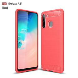 Luxury Carbon Fiber Brushed Wire Drawing Silicone TPU Back Cover for Samsung Galaxy A21 - Red