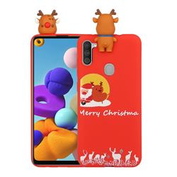 Moon Santa and Elk Christmas Xmax Soft 3D Doll Silicone Case for Samsung Galaxy A21