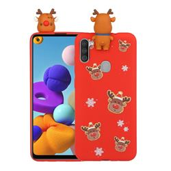Elk Snowflakes Christmas Xmax Soft 3D Doll Silicone Case for Samsung Galaxy A21