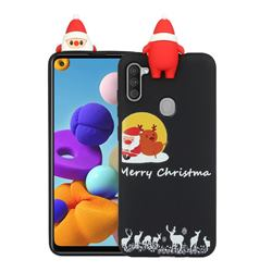 Santa Elk on Moon Christmas Xmax Soft 3D Doll Silicone Case for Samsung Galaxy A21