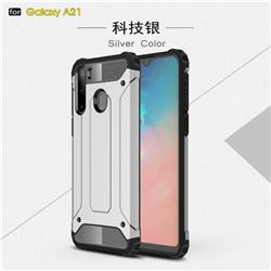 King Kong Armor Premium Shockproof Dual Layer Rugged Hard Cover for Samsung Galaxy A21 - White