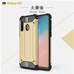 King Kong Armor Premium Shockproof Dual Layer Rugged Hard Cover for Samsung Galaxy A21 - Champagne Gold