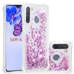Dynamic Liquid Glitter Sand Quicksand Star TPU Case for Samsung Galaxy A21 - Rose