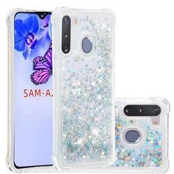 Dynamic Liquid Glitter Sand Quicksand Star TPU Case for Samsung Galaxy A21 - Silver