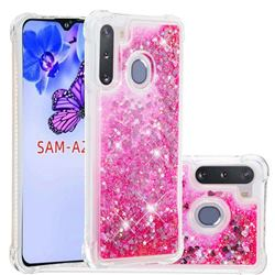 Dynamic Liquid Glitter Sand Quicksand TPU Case for Samsung Galaxy A21 - Pink Love Heart
