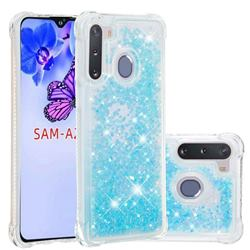 Dynamic Liquid Glitter Sand Quicksand TPU Case for Samsung Galaxy A21 - Silver Blue Star