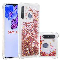 Dynamic Liquid Glitter Sand Quicksand TPU Case for Samsung Galaxy A21 - Rose Gold Love Heart