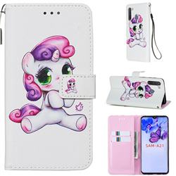 Playful Pony Matte Leather Wallet Phone Case for Samsung Galaxy A21
