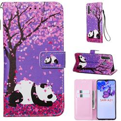 Cherry Blossom Panda Matte Leather Wallet Phone Case for Samsung Galaxy A21
