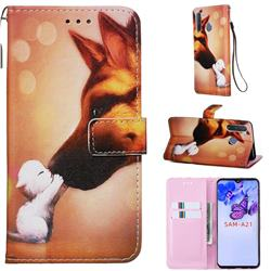 Hound Kiss Matte Leather Wallet Phone Case for Samsung Galaxy A21