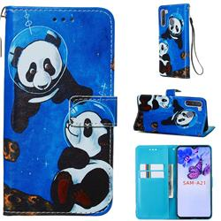 Undersea Panda Matte Leather Wallet Phone Case for Samsung Galaxy A21
