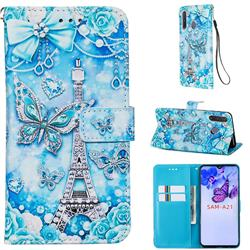 Tower Butterfly Matte Leather Wallet Phone Case for Samsung Galaxy A21